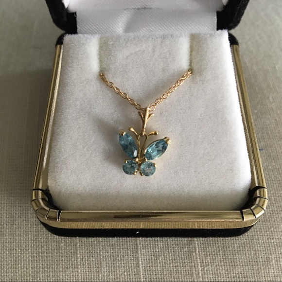 Galaxy Gold Products Jewelry - Gold and Topaz Butterfly Necklace
